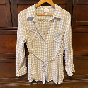 White and gray plaid maternity button down shirt